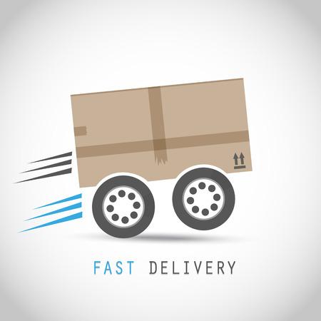 Cardboard box on wheels Ilustrace