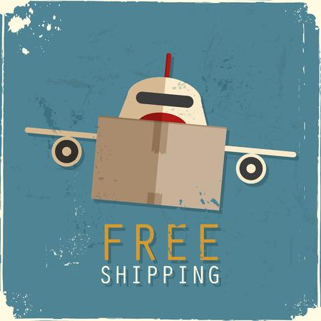 Cargo airplane made of cardboard box Vector