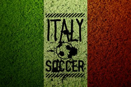 Italy flag soccer grass texture photo