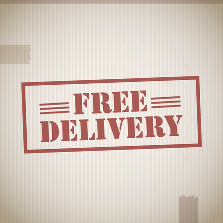 packed: Free delivery stamp Illustration
