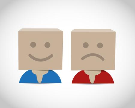 Happy and unhappy box Vector