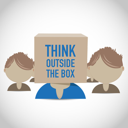 outside box: think outside the box group Illustration