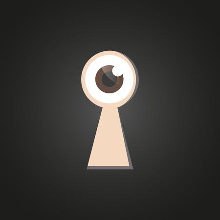 열쇠 구멍을 통해보고있는 눈