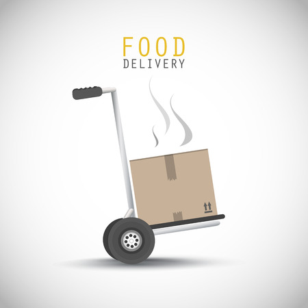 hand truck: Food delivery hand truck Illustration