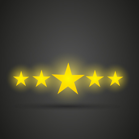 five stars: Five shiny golden stars Illustration
