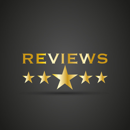 Reviews word with 5 star Stock Illustratie