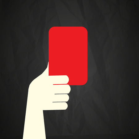 soccer referees hand with red card: Red card Illustration