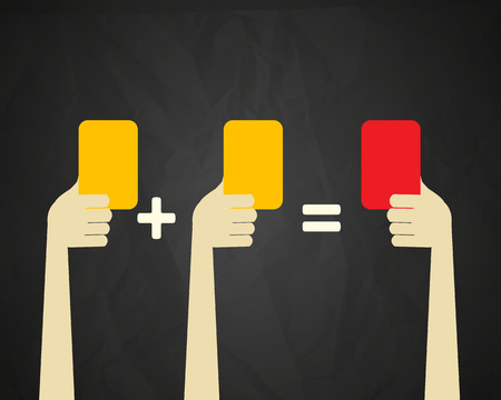 Yellow and red cards concept