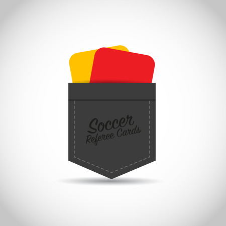 impartial: Soccer football referee red yellow cards Illustration