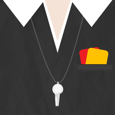 Soccer referee with cards and whistle Vector