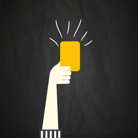 tarjeta amarilla: Tarjeta Amarilla �rbitro mano Vectores