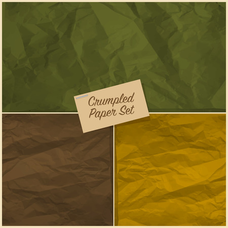 Set of colorful crumpled paper texture