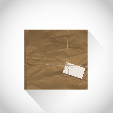 wrap wrapped: Brown package with blank label