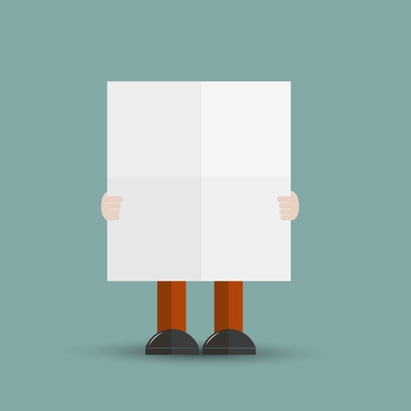 folded paper: Man with folded paper Illustration