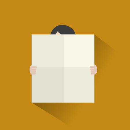 blank poster: Man with blank poster flat icon