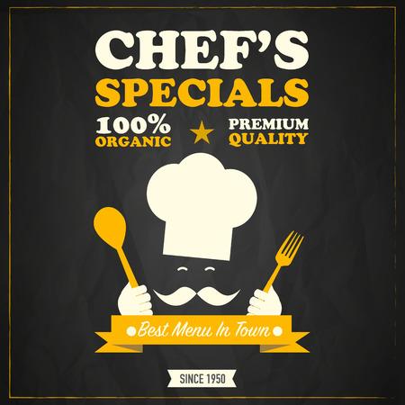 menu board: Restaurant chefs specials chalkboard design Illustration