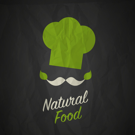 logo de comida: Diseño de alimentos naturales orgánicos Vectores
