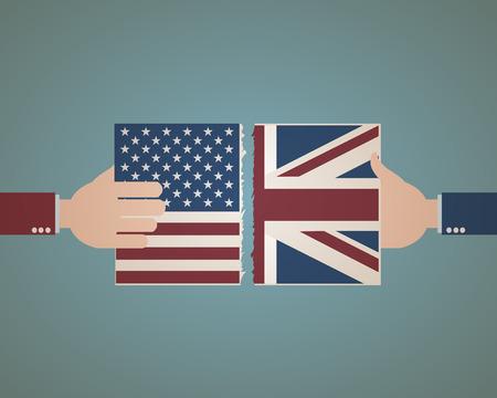 bandera de gran bretaña: Estados Unidos y Gran bandera de Gran Bretaña Vectores