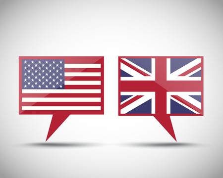us state flag: American British conversation speech bubbles