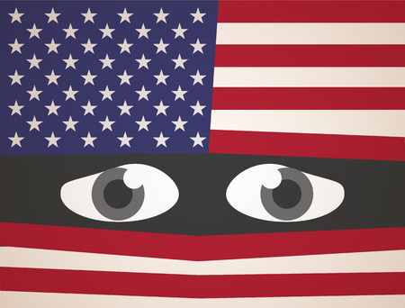 fear: Usa Flag Fear Eyes Illustration