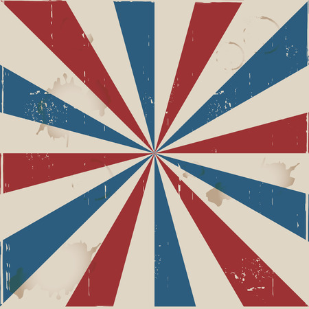 Red, blue and white retro rays Illustration
