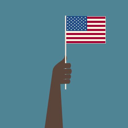 black american: Usa Flag Black Hand Illustration
