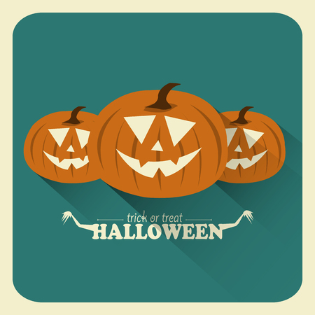 Flat Halloween Pumpkins  イラスト・ベクター素材
