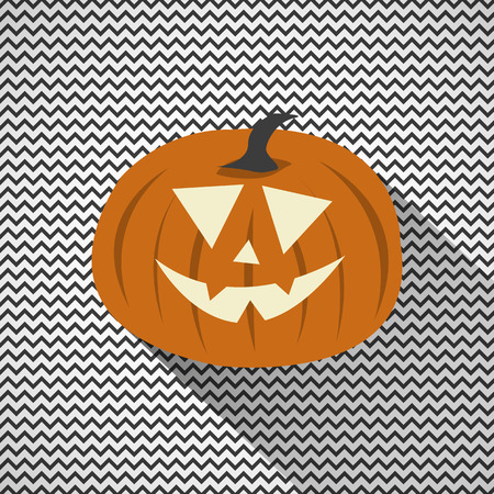 zig zag: Halloween Pumpkin with Zig Zag Background Illustration