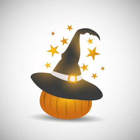 Halloween pumpkin with witch hat