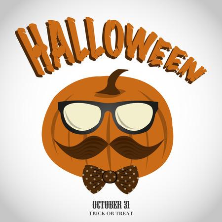 Halloween hipster pumpkin  イラスト・ベクター素材