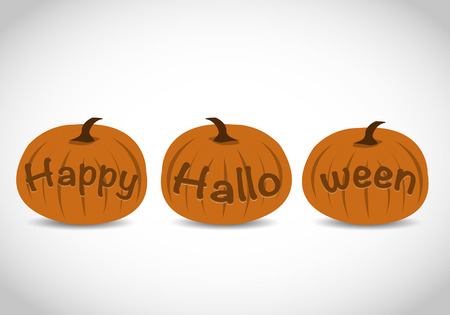 Carved Happy Halloween Text Pumpkins Ilustrace