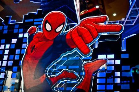 Moskou, Rusland - maart, 2018: Close-up van gezicht van beroemde superheld spiderman in de winkel gedrukt op papier. Spider-Man is een fictieve superheld in Amerikaanse stripboeken uitgegeven door Marvel Comics