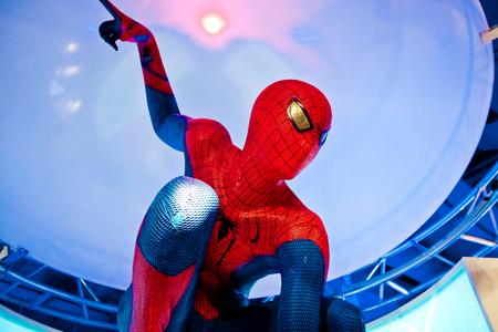 Moskou, Rusland - maart, 2018: Figuur van de beroemde superheld spiderman in de winkel. Spider-Man is een fictieve superheld in Amerikaanse stripboeken uitgegeven door Marvel Comics