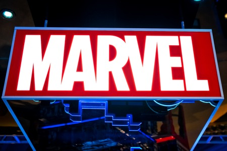 Moscow, Russia - March, 2018: Marvel logo in Hamleys store. Marvel Comics Group is a publisher of American comic books and related media