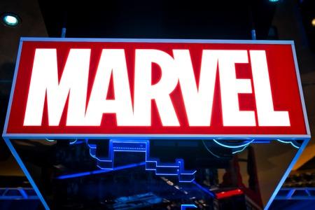 Moskwa, Rosja - marca 2018: logo Marvela w sklepie Hamleys. Marvel Comics Group jest wydawcą amerykańskich komiksów i powiązanych mediów