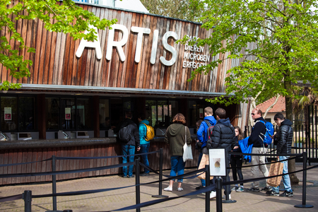 Amsterdam, Netherlands - April, 2018: Entrance to the Amsterdam Zoo, Nethrelands