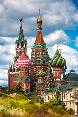 Saint Basil church in Moscow, Russia. View from new Zaryadie park Reklamní fotografie