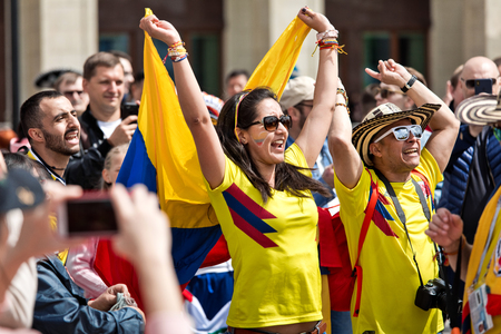 Moscow, Russia - June, 2018: Colombia football fans on world cup championship in Moscow, Russia