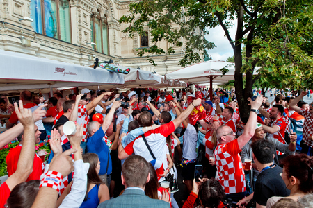 Moscow, Russia - June, 2018: Croatian and english football fans on world cup championship in Moscow, Russia before the game Croatia-England