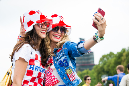 Moscow, Russia - July, 2018: Croatian football fans on world cup championship in Moscow, Russia