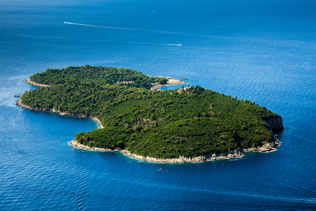 Green Lokrum island in Montenegro, aerial view Stock Photo