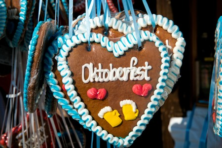 Colorful gingerbread souvenirs from oktoberfest in Munich city, Germany Фото со стока