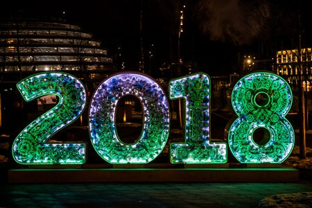 New year and christmas Moscow city decoration with 2018 letters glowing sign