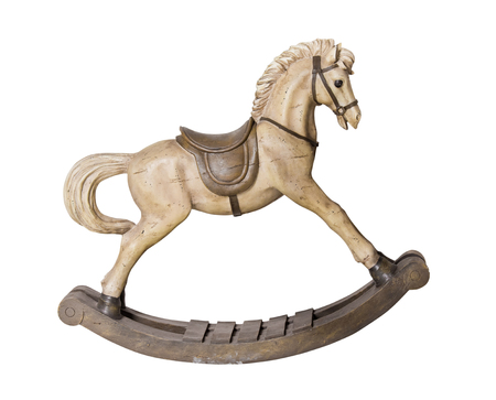 Vintage wooden rocking horse toy isolated on white background 免版税图像