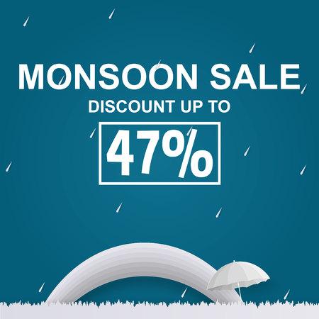 Monsoon sale or rainy season sale offer with raindrops and umbrella on blue background. Vektorové ilustrace