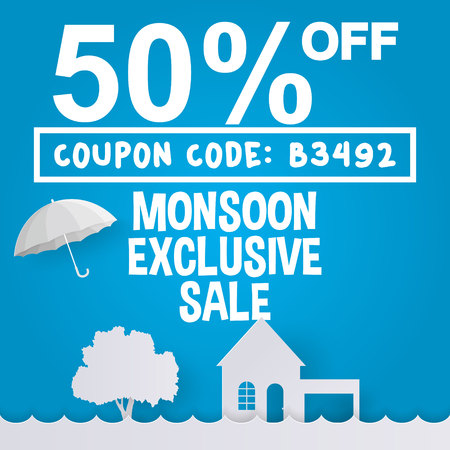 Monsoon exclusive sale or rainy season sale offer with coupon code in paper art style.