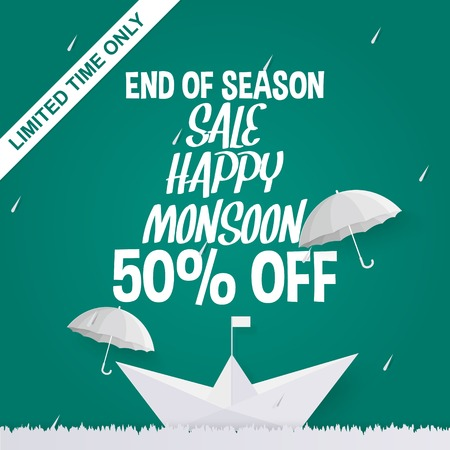 End of season sale offer in paper art style with limited time only ribbon on green background.