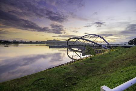 Putrajaya butterfly dam bridge in lanscape view Standard-Bild