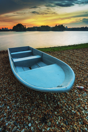 Stranded boat beside the lake of Putrajaya