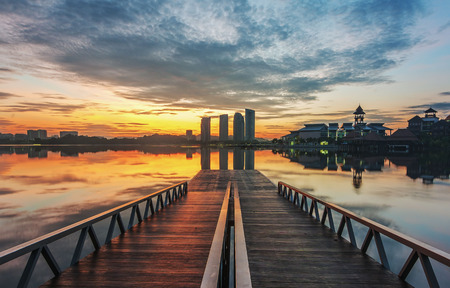 Putrajaya lake view from twin jetty Imagens